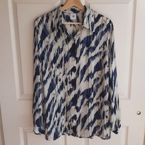 Cabi Moody Blues Button Down Blouse Top Size Large